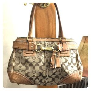 💕 Coach jacquard brown tan satchel C0773-10507 💕